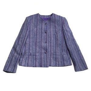 Vintage John Hanly & Co Nenagh Ireland Pure Wool Suit Jacket Tweed Women's Sz 12